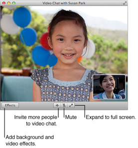 Image of the Video Chat window. Click Effects to add background and video effects. Click Invite (+) to invite more people to video chat. Click Mute to mute the video chat. Click the two outward arrows button to expand to full screen.