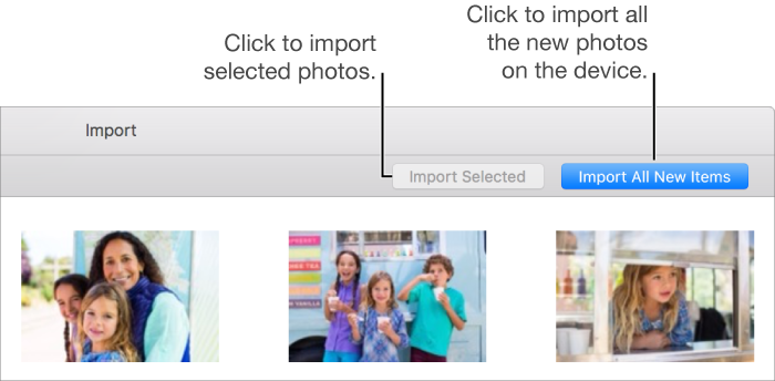 Photos window with the Import pane showing