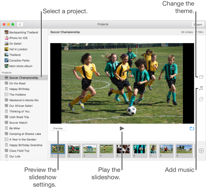 Photos for Mac: Create and work with slideshows