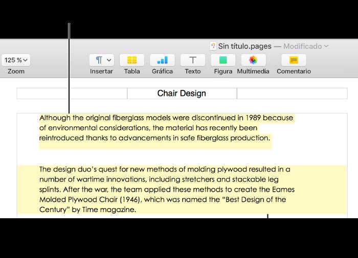 Pages para Mac: Añadir un resaltado al texto en un documento de Pages