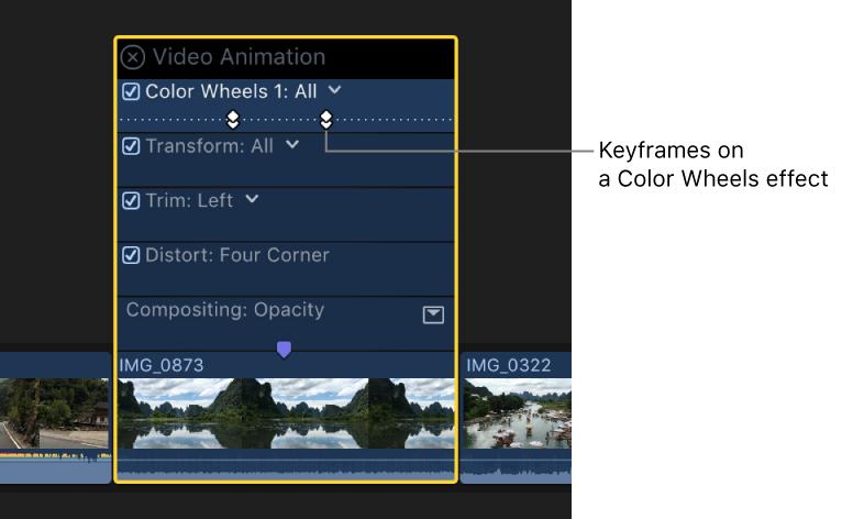 Final Cut Pro X: Añadir fotogramas clave a una corrección de color