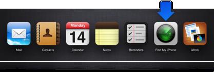 Flecha que señala al icono de la aplicación Buscar mi iPhone en la página del selector de aplicación