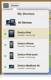 Imagen de la lista de dispositivos de Buscar mi iPhone
