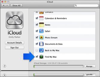 Flecha que señala a la casilla Buscar mi Mac de las preferencias de iCloud