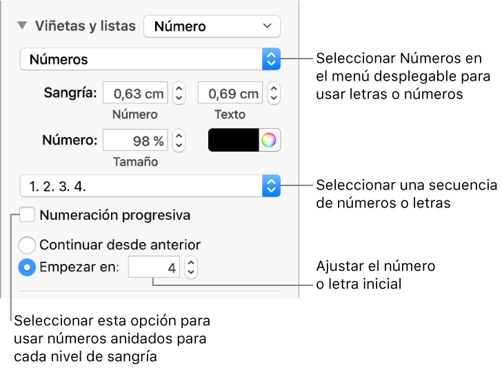 Pages para Mac: Dar formato a las listas en un documento de Pages