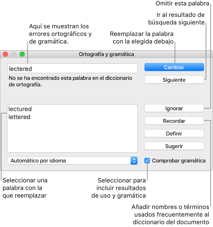 Numbers para Mac: Comprobar la ortografía en una hoja de cálculo de ...