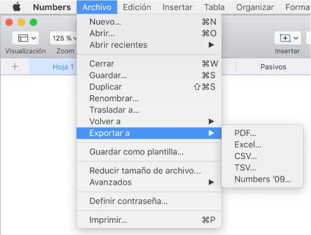 Numbers para Mac: Exportar una hoja de cálculo de Numbers a Excel ...
