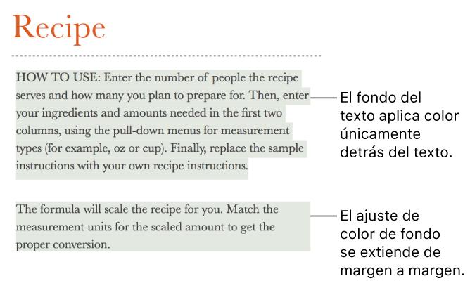Numbers para Mac: Añadir un efecto de resaltado al texto en una hoja ...
