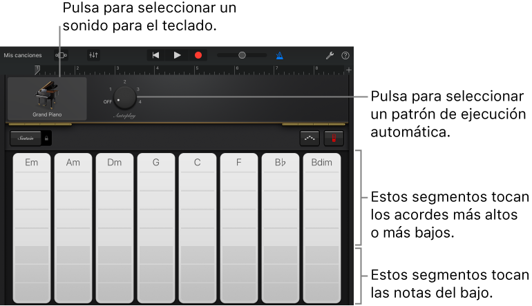 GarageBand for iOS (iPad): Tocar el teclado