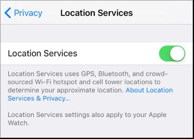 18ce28729 El ajuste Localización activado en la configuración de Privacidad.