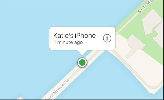 Un dispositivo localizado en el mapa de Buscar mi iPhone.