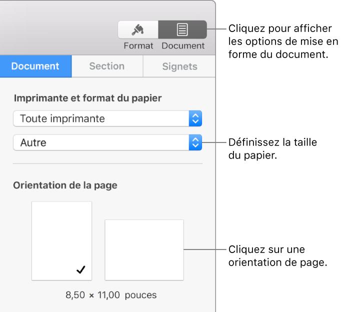 Commandes De Definition La Taille Et Lorientation Du Papier
