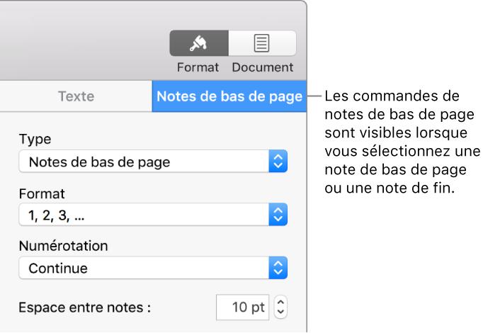 pages pour mac  ajouter des notes de bas de page et des