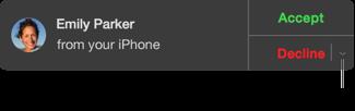 Dans la fenêtre d'appel entrant, cliquez sur le menu local en regard de Refuser pour envoyer un message ou créer un rappel.
