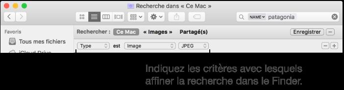 recherche par type de fichier mac