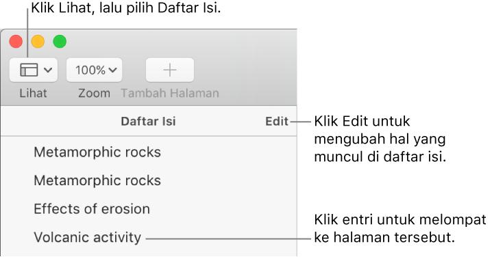Pages Untuk Mac Membuat Daftar Isi Di Dokumen Pages
