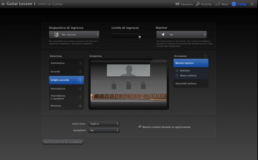 Garageband per mac: personalizzare la finestra della lezione
