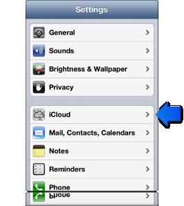 Freccia che indica le impostazioni di iCloud su un dispositivo iOS