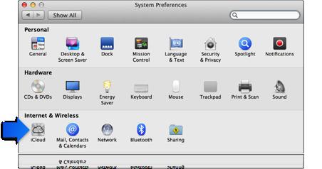 Freccia che indica le preferenze di iCloud