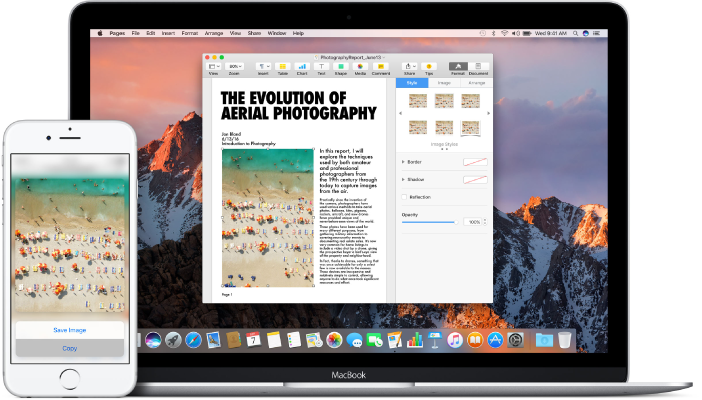 Mac in cui è visualizzato un documento di Pages con un'immagine copiata da iPhone