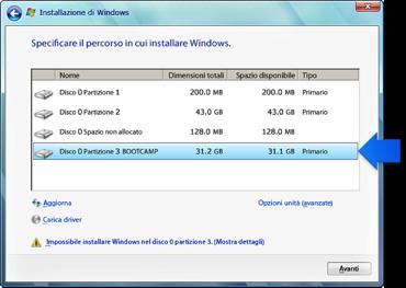 Windows. La posizione in cui vuoi installare la schermata Windows con