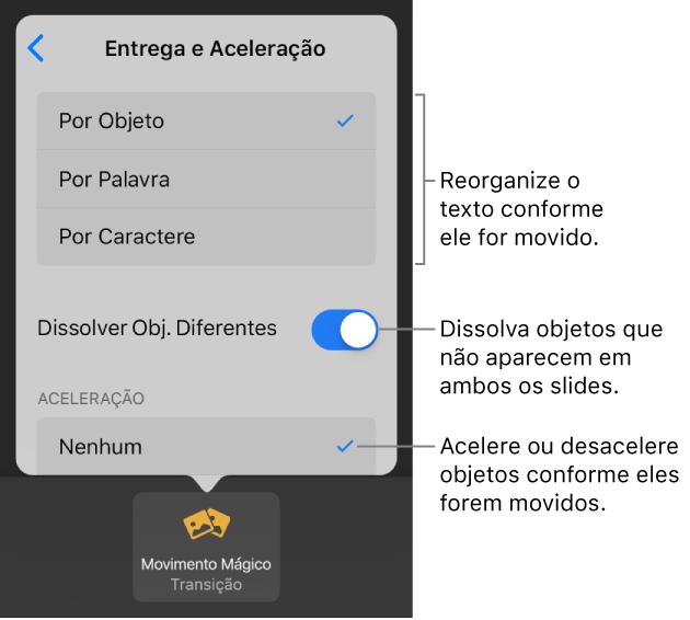 keynote for ipad adicionar uma transição de movimento mágico