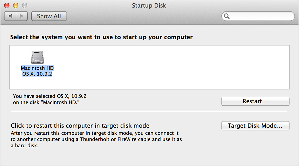 The Startup Disk Preferences Window