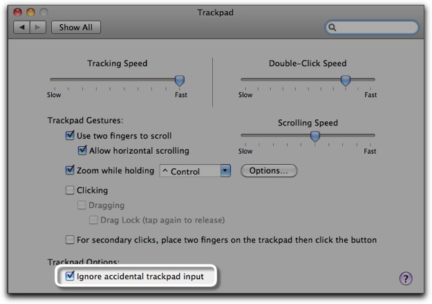 Trackpad System Preferences pane