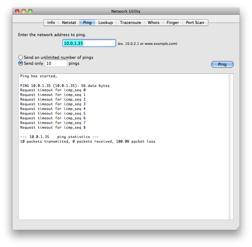 unsuccessful ping test on Mac