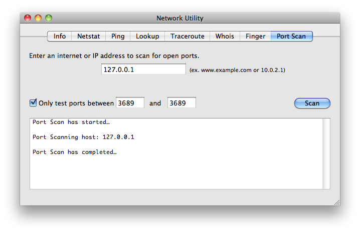 unsuccessful local test of port 3689 on Mac