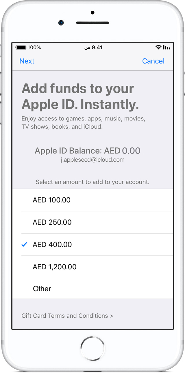 iPhone X يعرض Add funds to your Apple ID
