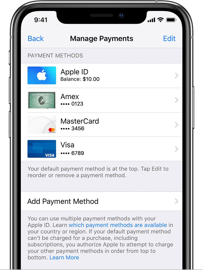 a8543419f طرق الدفع التي يمكنك استخدامها مع Apple ID - Apple الدعم