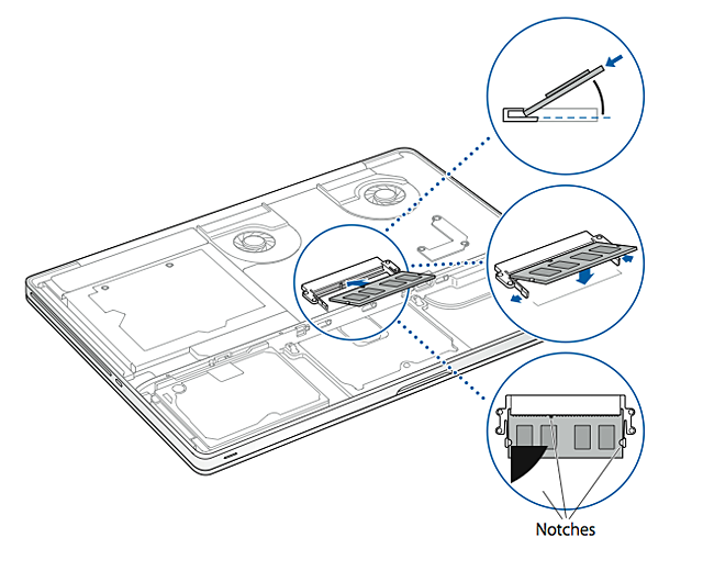 macbook pro how to remove or install memory apple support Network Design Diagram note make sure you install the memory according to the illustration below with the gold contacts inserted almost pletely into the connector