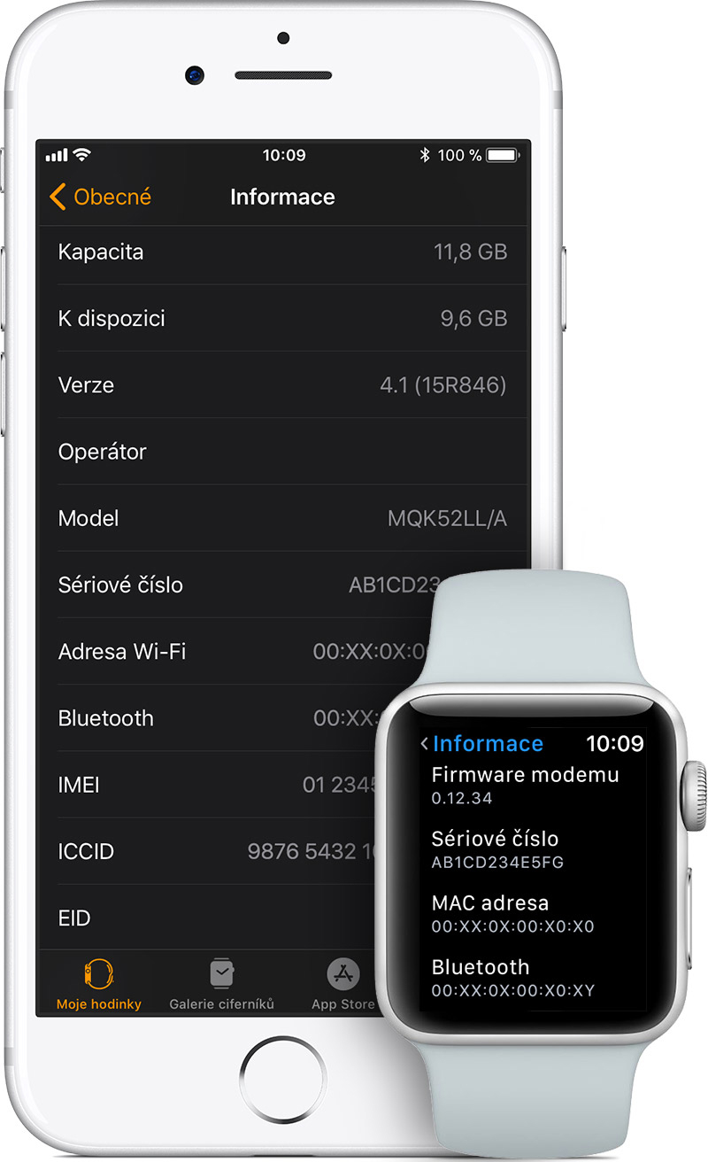 Obrazovka Informace na iPhonu a Apple Watch