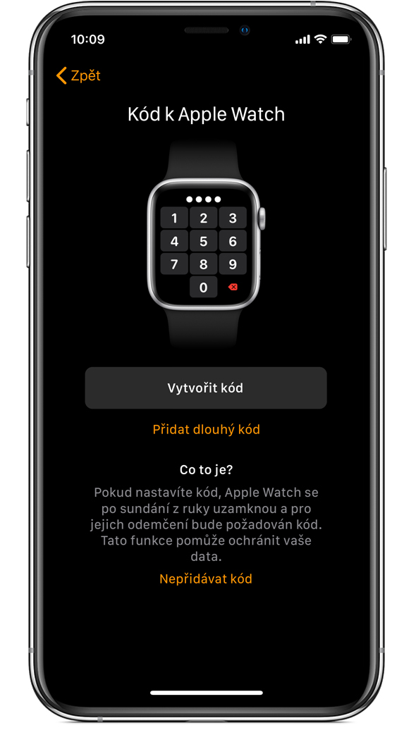 Obrazovka Kód k Apple Watch na iPhonu.