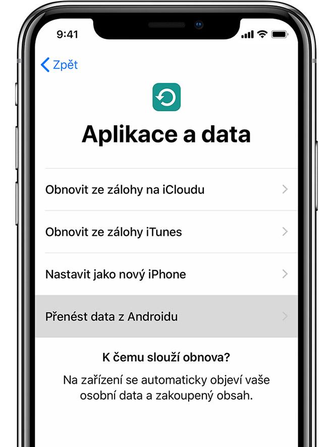 Obrazovka Aplikace adata na iPhonu