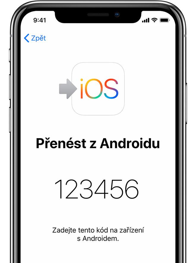 obrazovka aplikace Přechod na iOS na iPhonu skódem