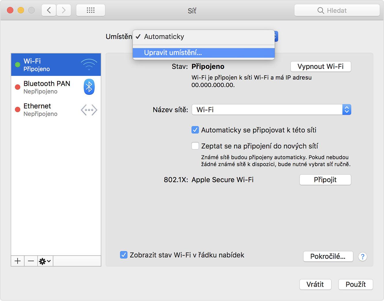 ethernetové připojení pro Mac