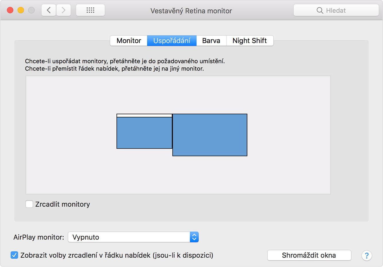 Mac mini připojte dva monitory