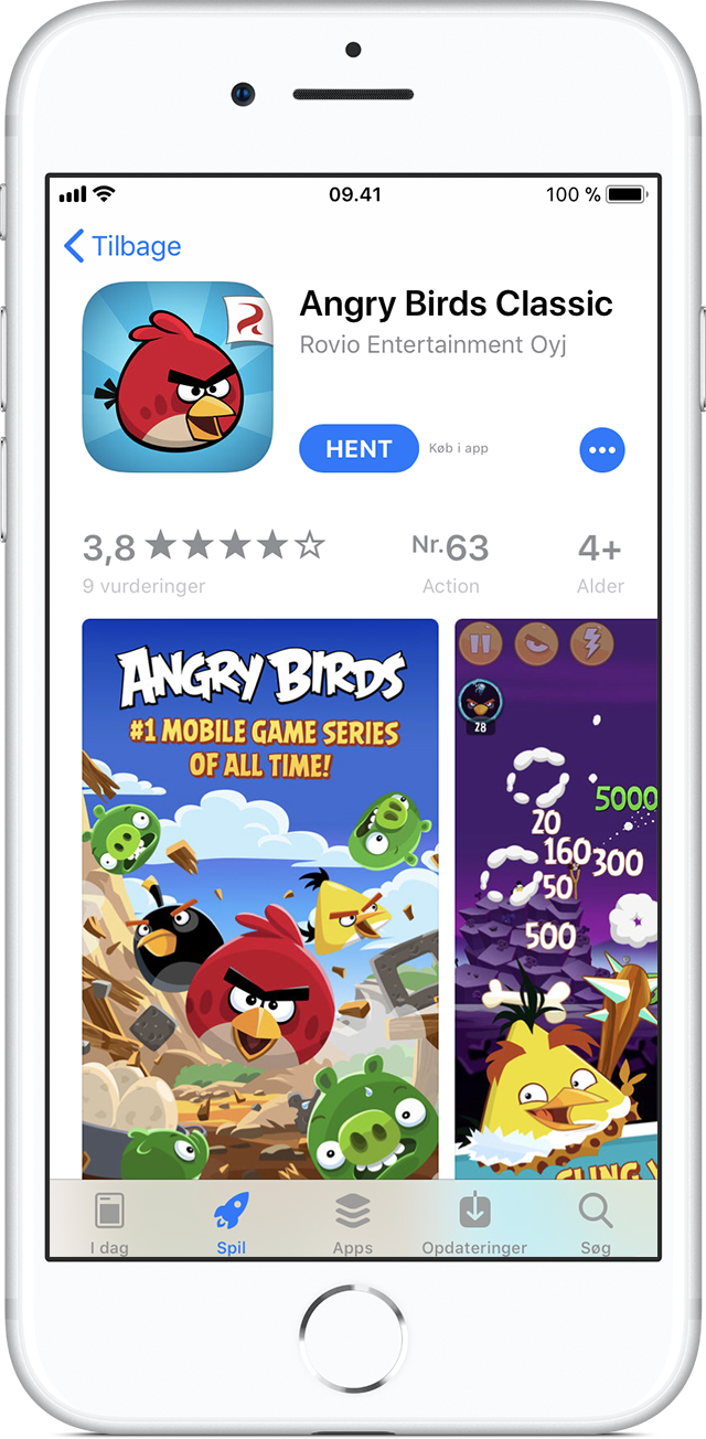 iPhone viser App Store-siden for appen Angry Birds