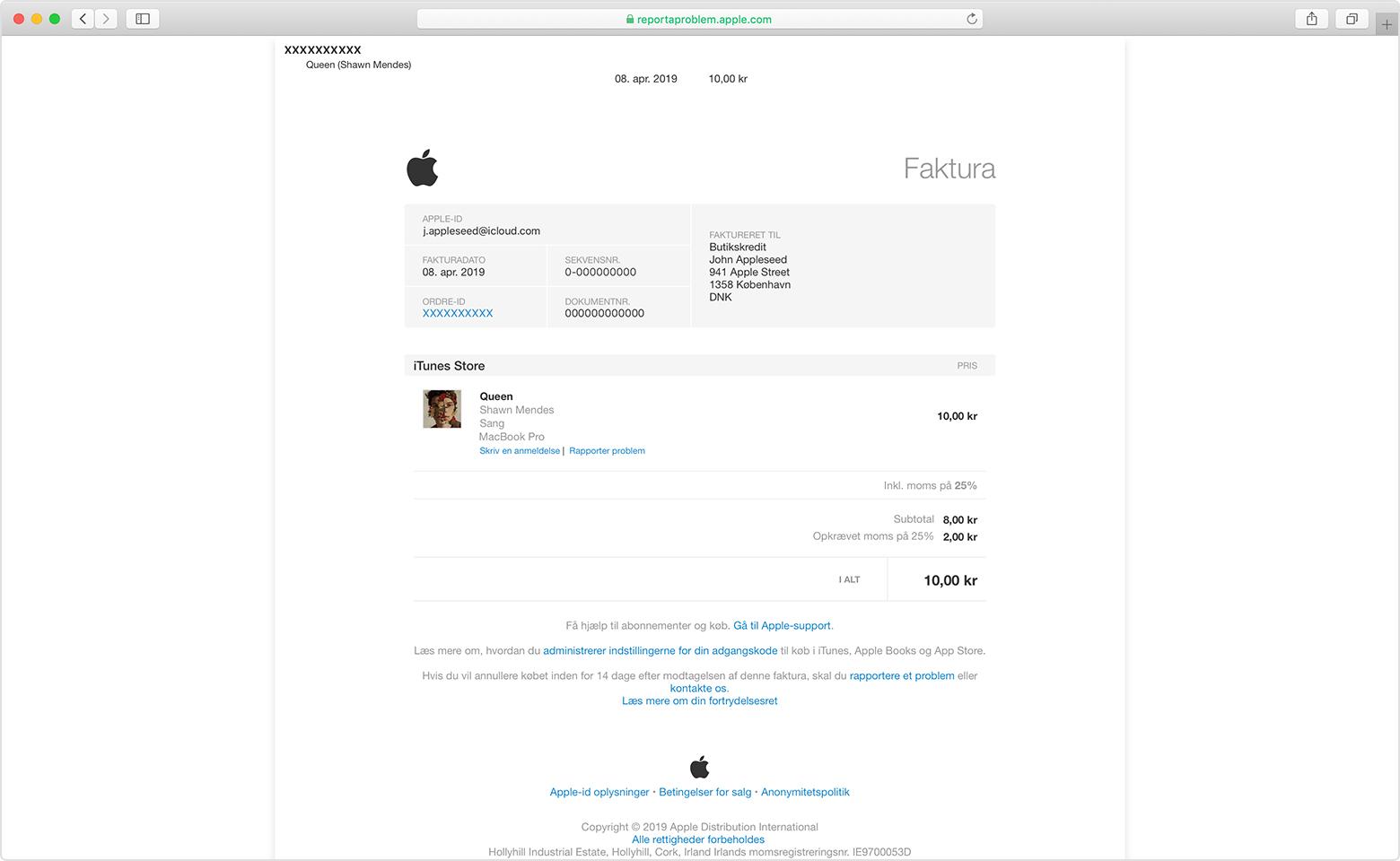 8213b4e17c4 Et åbent Safari-vindue på reportaproblem.apple.com med visning af et  eksempel