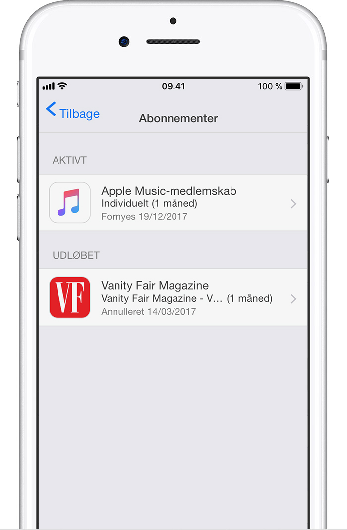 Visning, ændring eller opsigelse af abonnementer - Apple-support