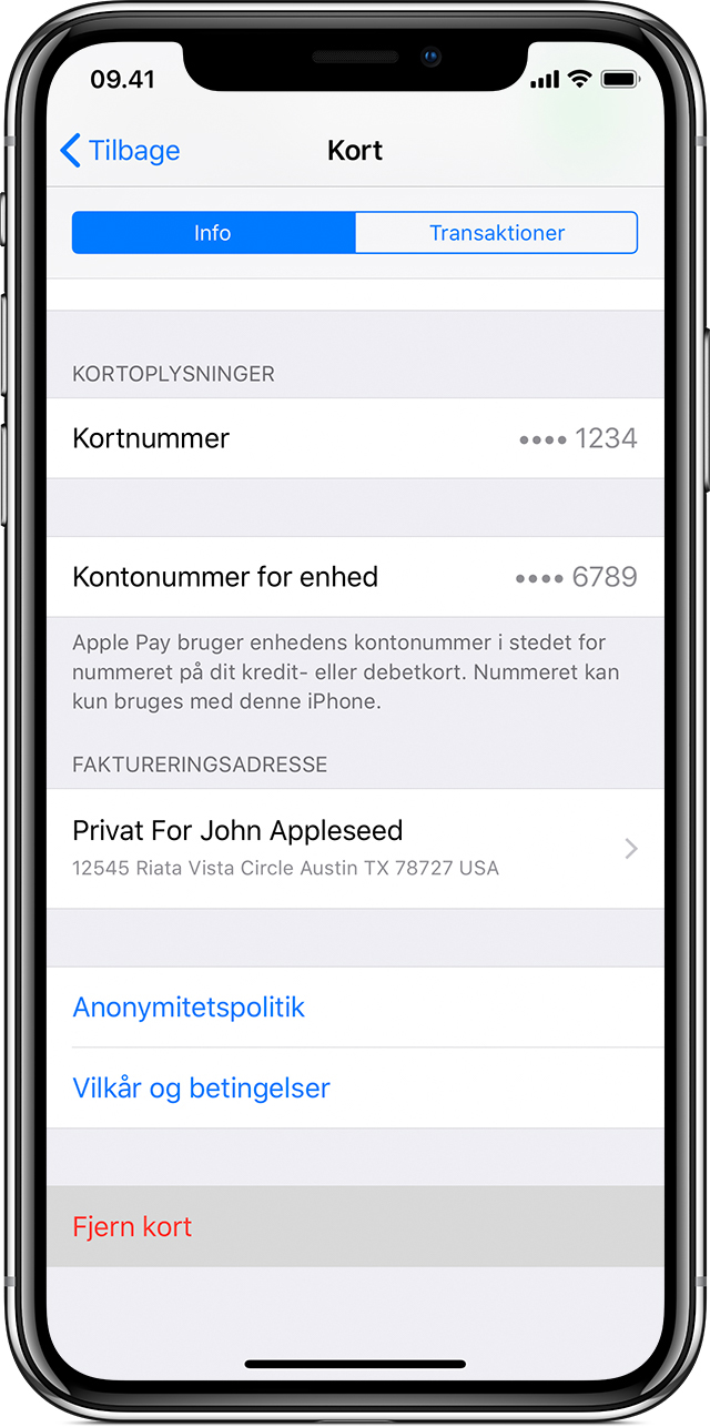 Fjern kort på iPhone eller iPad