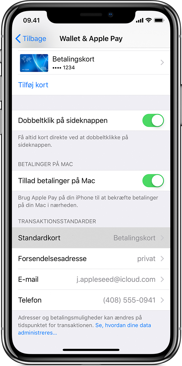 Apple Pay-standardkort på iPhone eller iPad