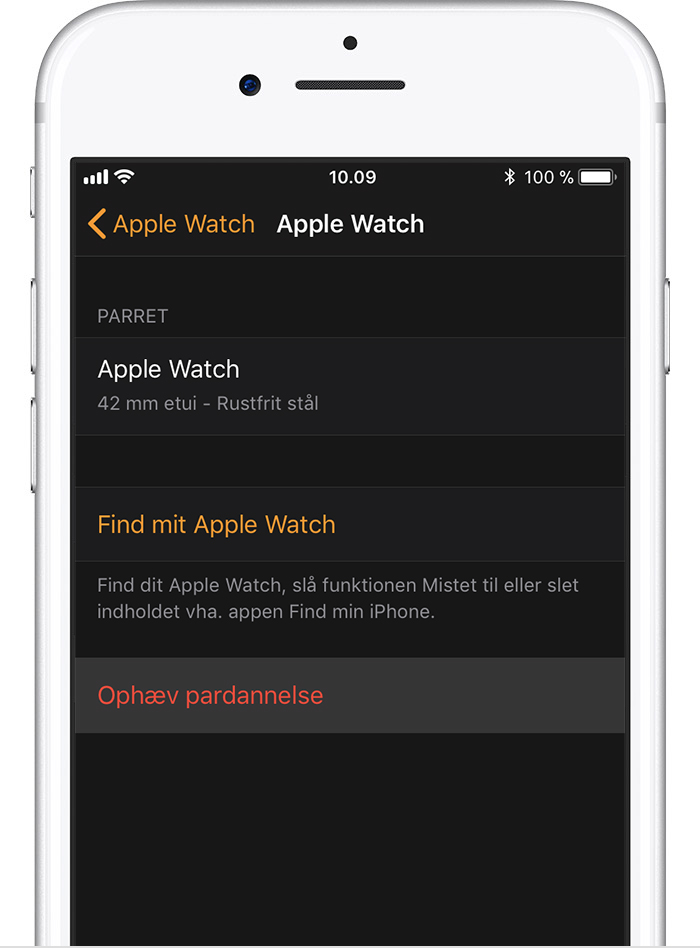 Apple Watch-skærm på iPhone