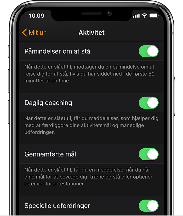 Aktivitetsindstillinger i appen Watch på iPhone.