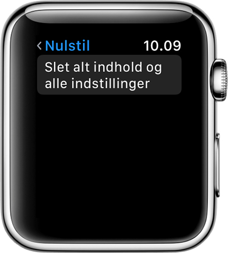 Nulstil skærm på Apple Watch