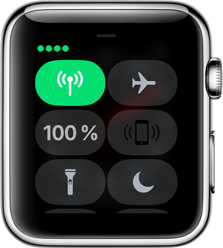 Kontrolcenter på Apple Watch Series 3