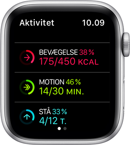 Målene for bevægelse, motion og at stå op på Apple Watch.
