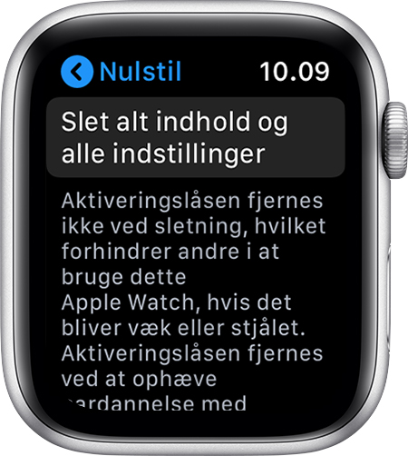 Skærmen Nulstil på Apple Watch.